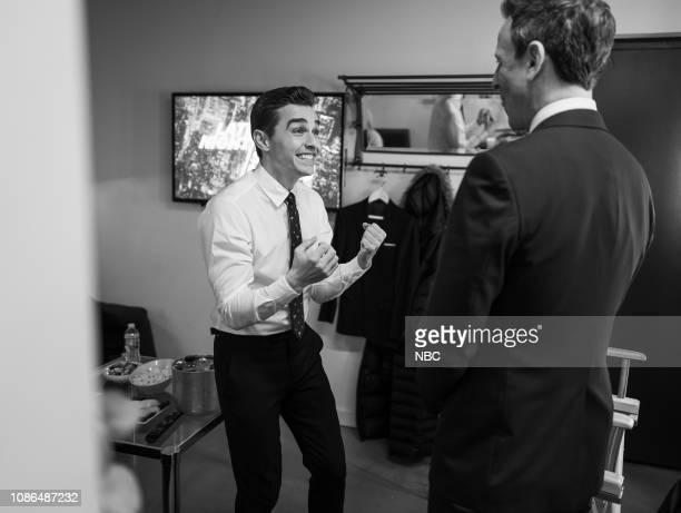 MEYERS Episode 786 Pictured Actor Dave Franco talks with host Seth Meyers backstage on January 22 2019