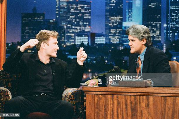 Episode 787 -- Pictured: Conan O'Brien during an interview with host Jay Leno on October 13, 1995 --