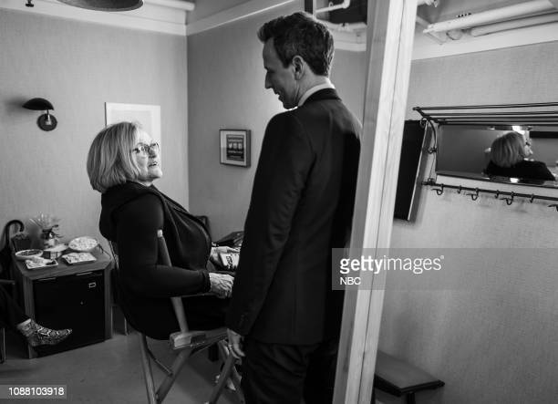 MEYERS Episode 788 Pictured Former US Senator Claire McCaskill talks with host Seth Meyers backstage on January 24 2019