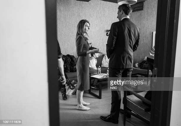 MEYERS Episode 790 Pictured Political commentator Nicolle Wallace talks with host Seth Meyers backstage on January 29 2019