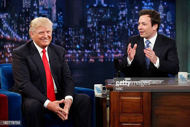 Episode 791 -- Pictured: All-Star Celebrity Apprentice's Donald Trump with host Jimmy Fallon during an interview on February 26, 2013 --