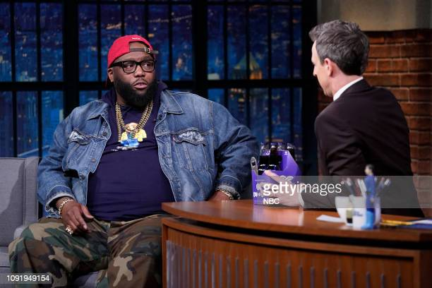 Rapper Killer Mike during an interview with host Seth Meyers on January 30 2019