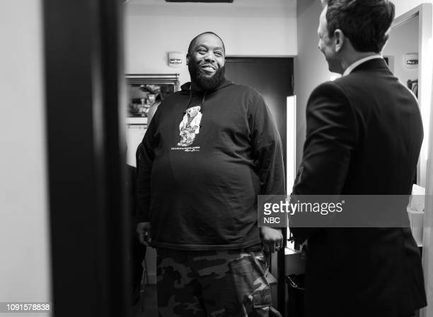 MEYERS Episode 791 Pictured Rapper Killer Mike talks with host Seth Meyers backstage on January 30 2019