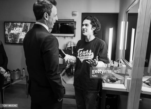 MEYERS Episode 792 Pictured Host Seth Meyers talks with musical guest Conan Gray backstage on January 31 2019