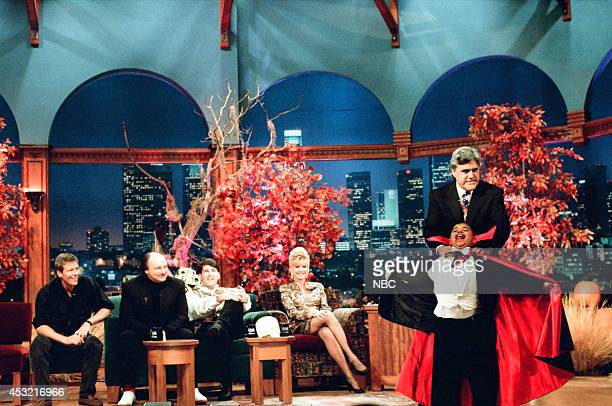 Actor Jack Wagner actor Dennis Franz comedian Pat Hazell socialite Ivana Trump and child actor Curtis Williams Jr during an interview with host Jay...