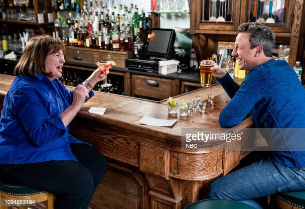 Ina Garten and host Seth Meyers during Seth Goes Day Drinking with Ina Garten on February 6 2019