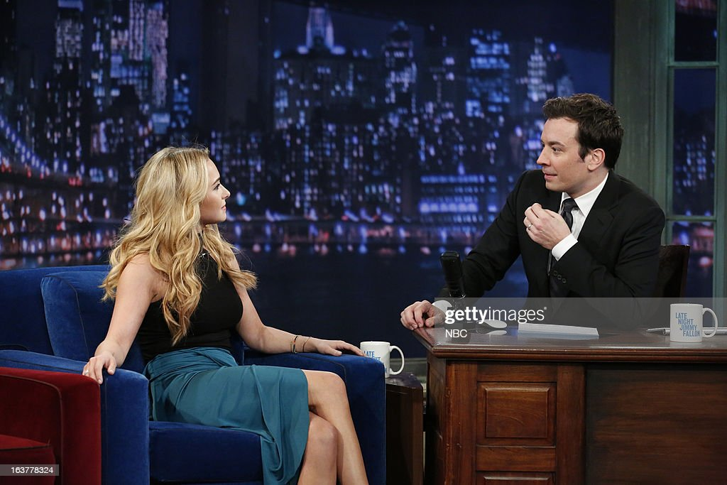 Actress Hayden Panettiere with host Jimmy Fallon during an interview on March 15, 2013 --
