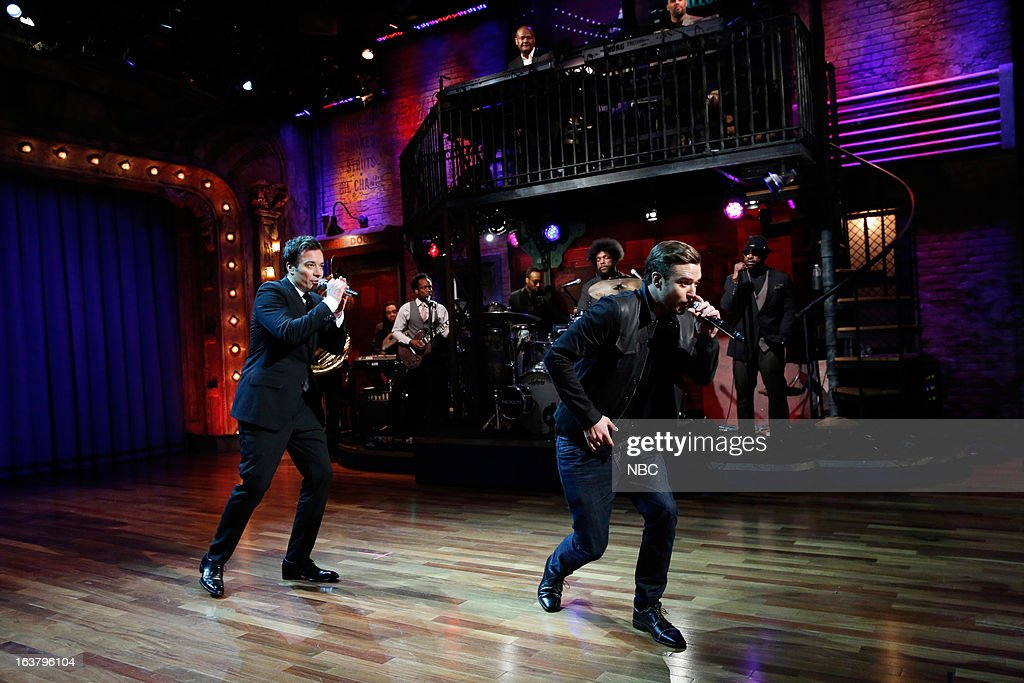 Host Jimmy Fallon and Justin Timberlake during a skit on March 15, 2013 --