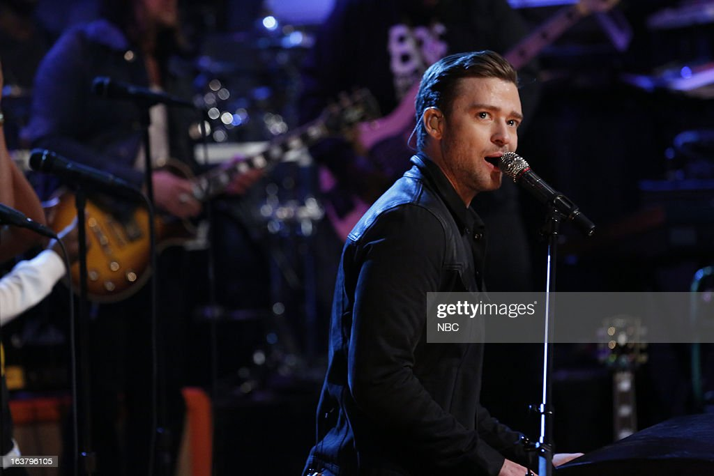 Musical guest Justin Timberlake performs on March 15, 2013 --