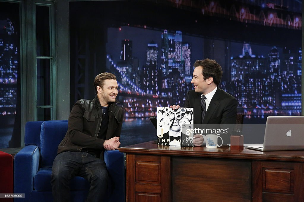 Singer/actor Justin Timberlake with host Jimmy Fallon during an interview on March 15, 2013 --