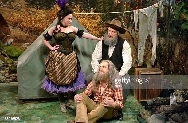LIVE Episode 8 Aired Pictured Rachel Dratch as woman Alec Baldwin as prospector Gabby Hicock Will Forte as prospector Gabby Wade Tomlanson during...