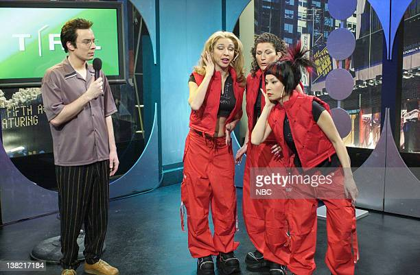 LIVE Episode 8 Aired Pictured Jimmy Fallon as Carson Daly Maya Rudolph as Britanica Ana Gasteyer as Jonette Lucy Liu as Binaca during TRL skit on...