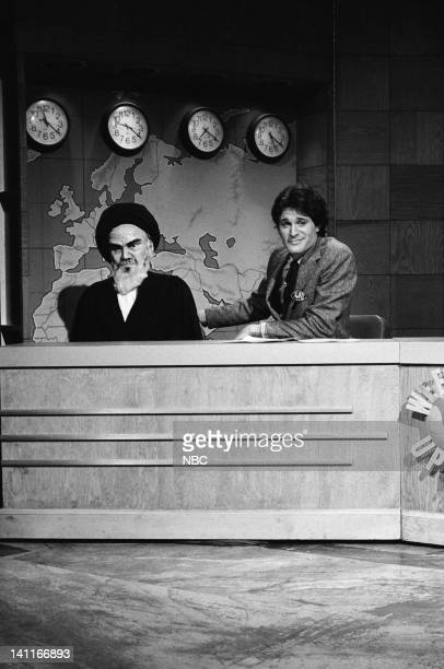 Episode 8 -- Pictured: Ayatollah Khomeini puppet, Charles Rocket during the 'Weekend Update' skit on January 24, 1981 -- Photo by: NBC/NBCU Photo Bank