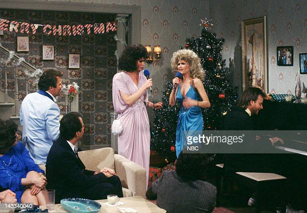 William Shatner as Roger Nora Dunn as Liz Sweeney Jan Hooks as Candy Sweeney Marc Shaiman as Skip St Thomas during 'Christmas Party' skit on December...