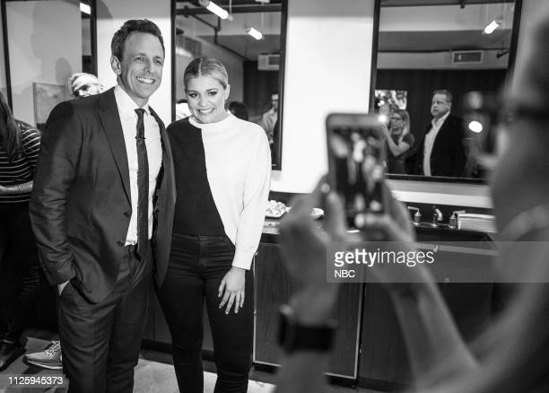 MEYERS Episode 802 Pictured Host Seth Meyers takes a photo with musical guest Lauren Alaina backstage on February 19 2019