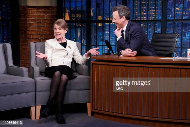 Brittish actress and former politician Glenda Jackson during an interview with host Seth Meyers on February 21 2019