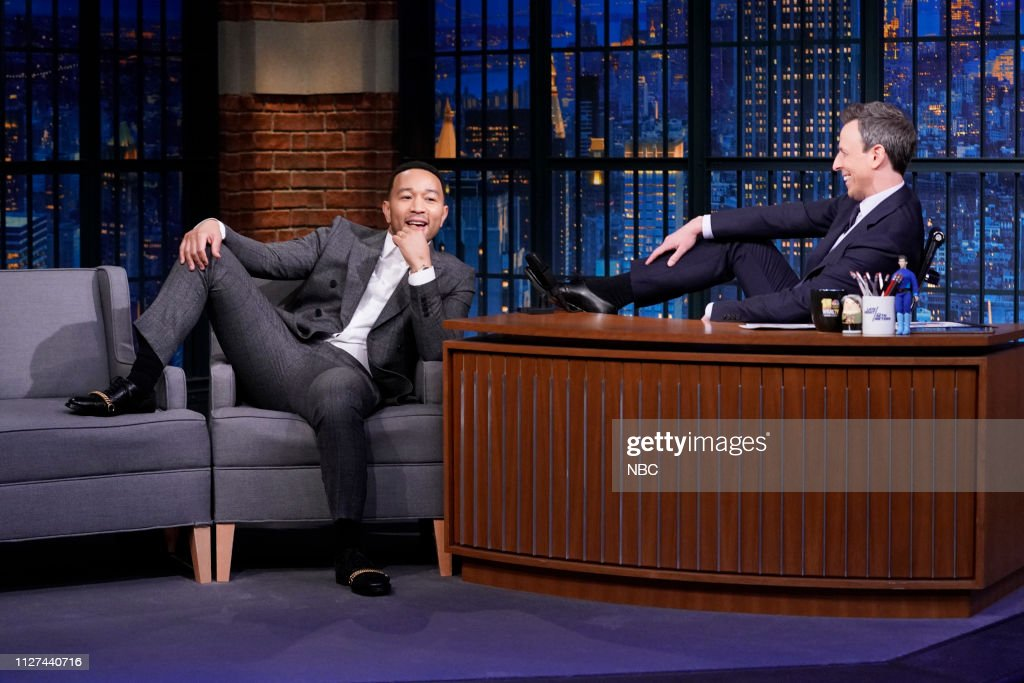"NY: NBC'S ""Late Night With Seth Meyers"" With Guests John Legend, April Ryan, Geraldine Viswanathan (Band Sit In: Jon Epcar)"