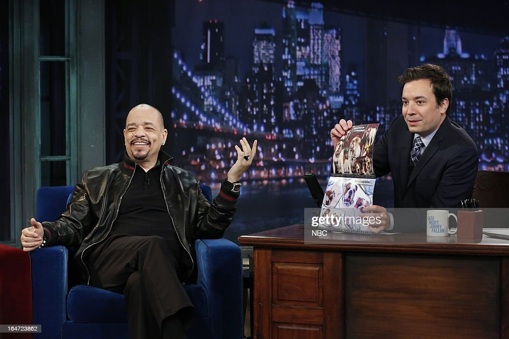 Actor/rapper Ice-T with host Jimmy Fallon during an interview on March 26, 2013 --