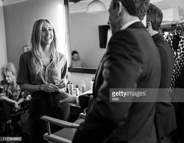 Episode 806 -- Pictured: Actress/comedian Heidi Gardner talks with host Seth Meyers backstage on February 26, 2019 --