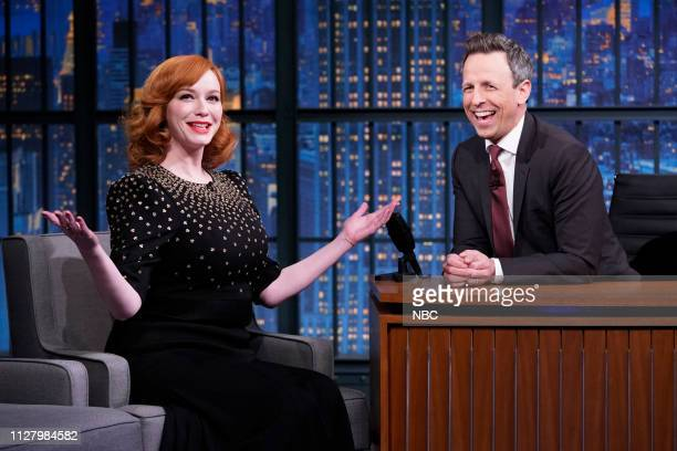 Episode 807 -- Pictured: Actress Christina Hendricks during an interview with host Seth Meyers on February 27, 2019 --