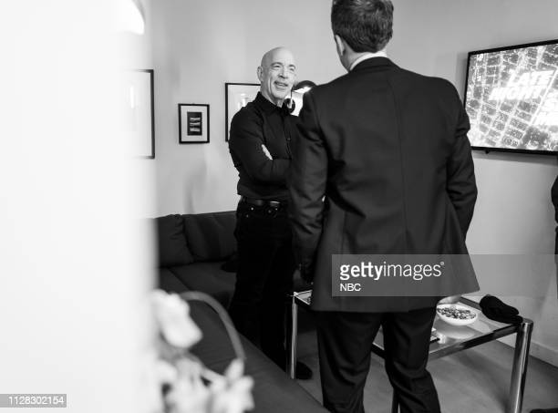 MEYERS Episode 808 Pictured Actor JK Simmons talks with host Seth Meyers backstage on February 28 2019