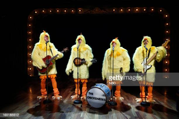 Blake Shelton host Jimmy Fallon Chris Tartaro Nick Offerman during the 'Chickeneers' skit on March 28 2013