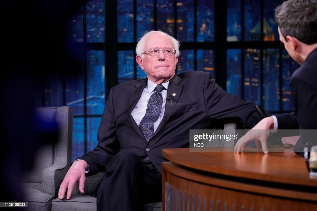 "NY: NBC'S ""Late Night With Seth Meyers"" With Guests Senator Bernie Sanders, J.K. Simmons (Band Sit In: Jon Epcar)"