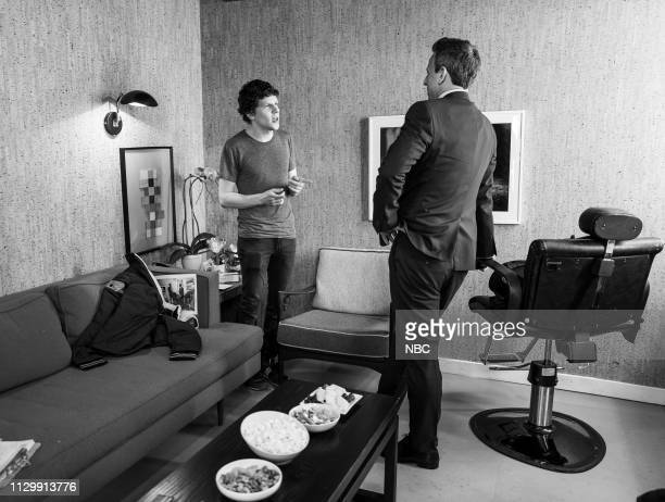 MEYERS Episode 809 Pictured Actor Jesse Eisenberg talks with host Seth Meyers backstage on March 11 2019