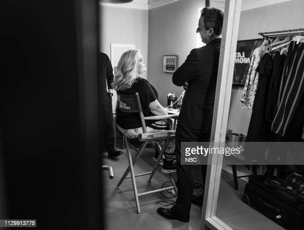 MEYERS Episode 809 Pictured Actor/comedian Paula Pell talks with host Seth Meyers backstage on March 11 2019