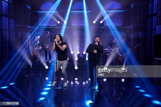 Dan Smyers and Shay Mooney of musical guest DAN SHAY perform on March 11 2019
