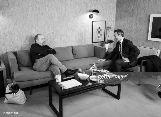 MEYERS Episode 810 Pictured Actor Paul Giamatti talks with host Seth Meyers backstage on March 12 2019