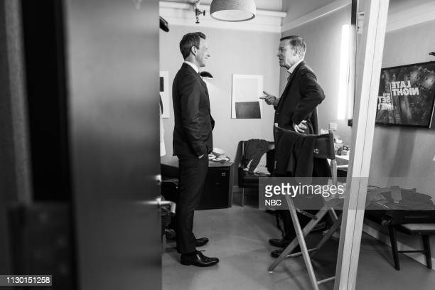 MEYERS Episode 810 Pictured Host Seth Meyers talks to Governor John Hickenlooper backstage on March 12 2019