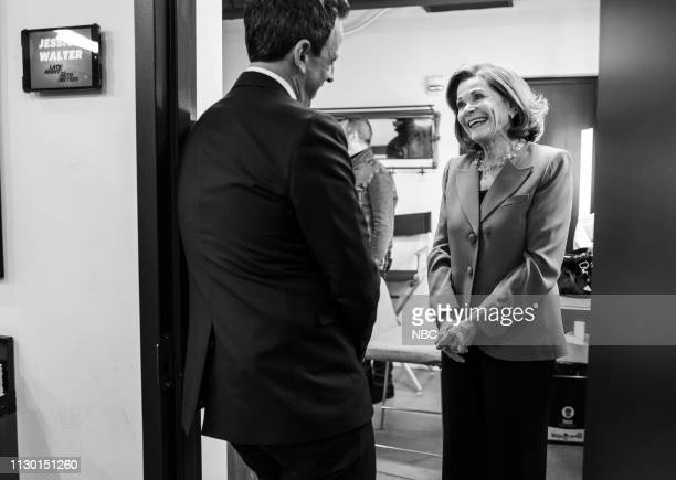 MEYERS Episode 810 Pictured Host Seth Meyers talks with actres Jessica Walter backstage on March 12 2019