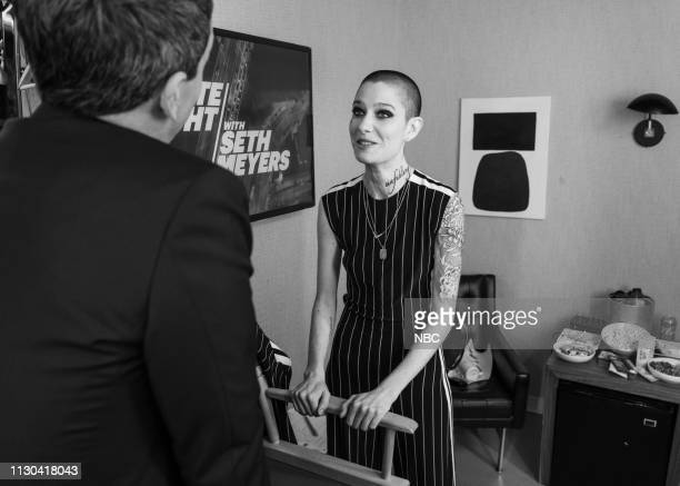 MEYERS Episode 811 Pictured Actress Asia Kate Dillon talks to host Seth Meyers backstage on March 13 2019