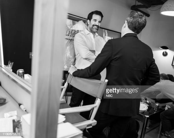 MEYERS Episode 812 Pictured Actors Rob Delaney talks with host Seth Meyers backstage on March 14 2019