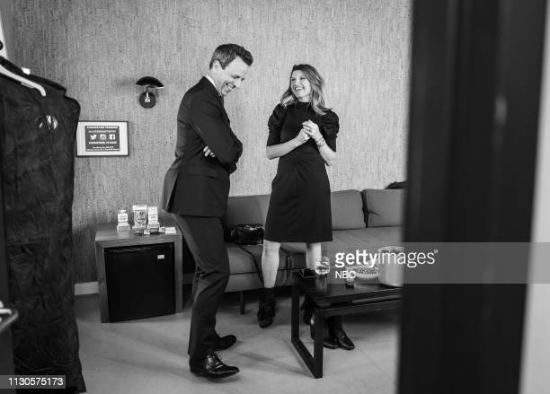 MEYERS Episode 812 Pictured Host Seth Meyers talks with Sharon Horgan backstage on March 14 2019