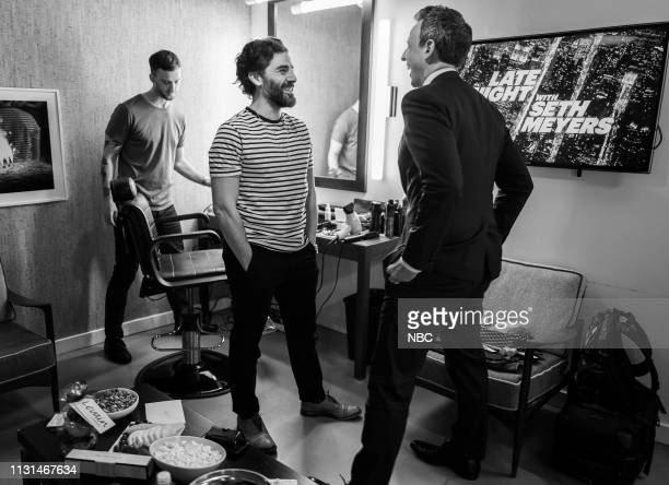 Actor Oscar Isaac talks with host Seth Meyers backstage on March 18 2019