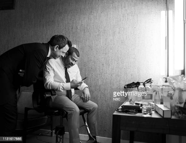 MEYERS Episode 814 Pictured Host Seth Meyers and Writer/director Jordan Peele backstage on March 19 2019