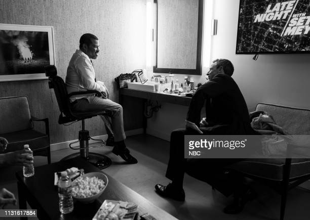 MEYERS Episode 814 Pictured Writer/director Jordan Peele talks with host Seth Meyers backstage on March 19 2019