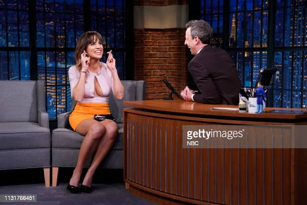 Actress Natalie Morales during an interview with host Seth Meyers on March 20 2019