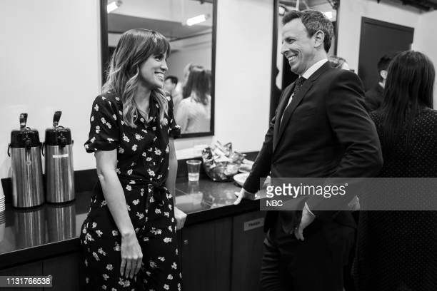 Actress Natalie Morales talks with host Seth Meyers backstage on March 20 2019