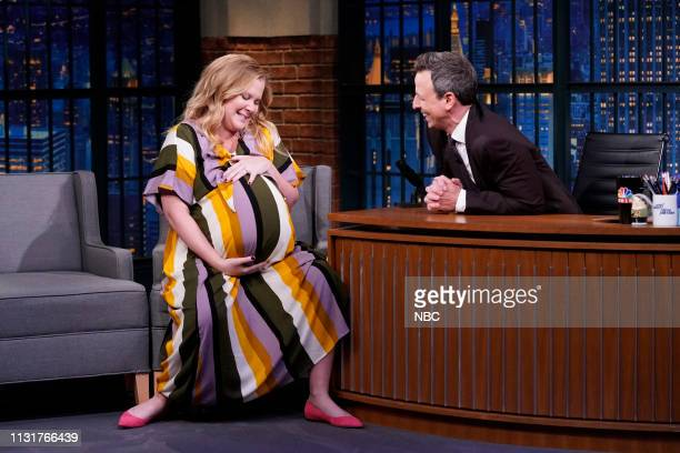 Comedian Amy Schumer during an interview with host Seth Meyers on March 20 2019