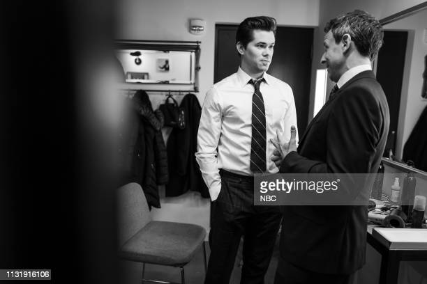 MEYERS Episode 816 Pictured Actor Andrew Rannells talks with host Seth Meyers backstage on March 21 2019