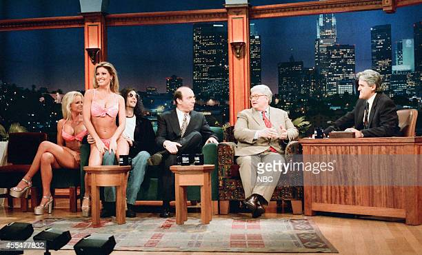 Adult film actresses Nikki Taylor and Janine Lindemulder radio personality Howard Stern and film critics Gene Siskel and Roger Ebert during an...