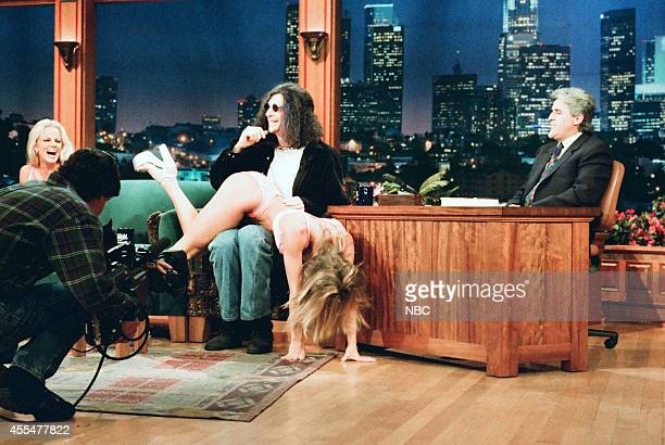 Radio personality Howard Stern and adult film actress Janine Lindeulder during an interview with Jay Leno on November 30 1995