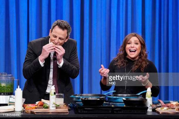 Episode 817 -- Pictured: Host Seth Meyers during a cooking segment with Chef Rachael Ray on April 2, 2019 --