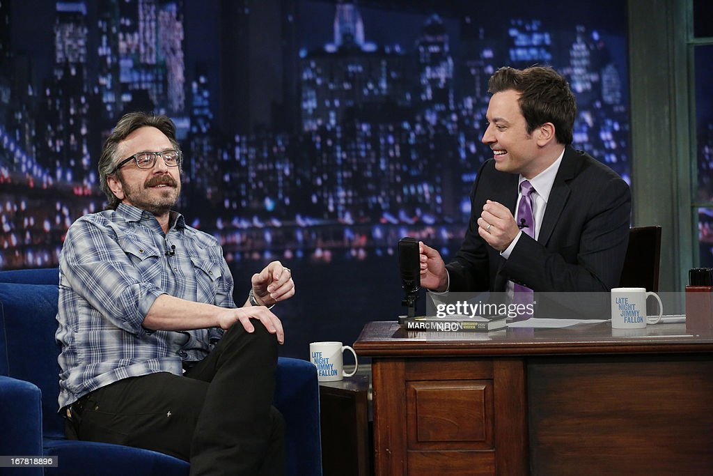 Comedian Mark Maron with host Jimmy Fallon during an interview on April 30, 2013 --