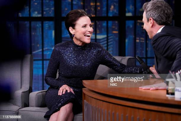 Episode 826 -- Pictured: Actress Julia Louis-Dreyfus during an interview with host Seth Meyers on April 16, 2019 --