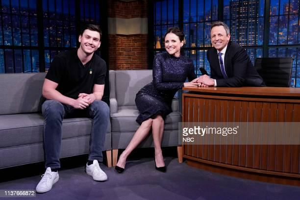 Episode 826 -- Pictured: Charlie Hall, actress Julia Louis-Dreyfus during an interview with host Seth Meyers on April 16, 2019 --