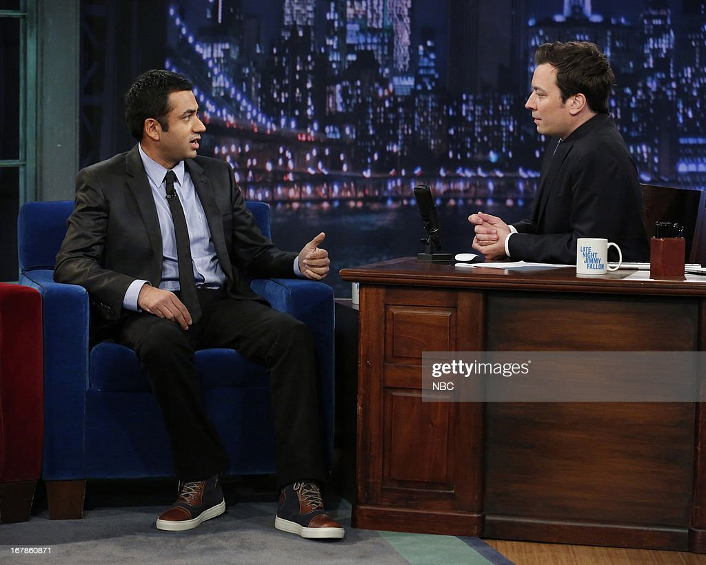 Kal Penn with host Jimmy Fallon during an interview on May 1, 2013 --